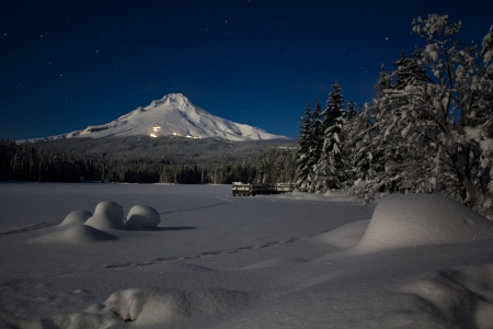 Mt Hood under full moon light