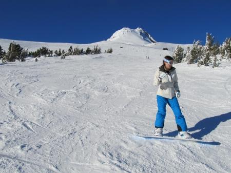 Sarah kicking up some snow
