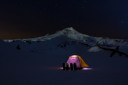 Boy Scout Ridge night tent shot
