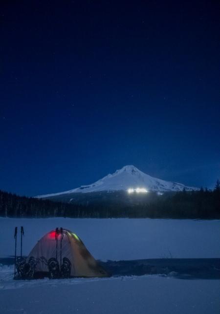 Trillium lake tent night shot