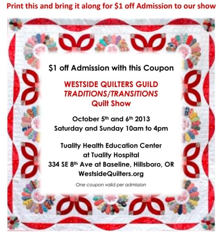 Coupon for 2013 Quilt Show