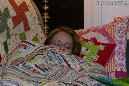 Sarah among quilts sick