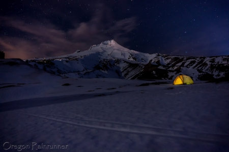 Mt Hood night with watermark