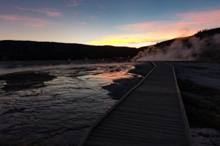 Yellowstone walk sunset